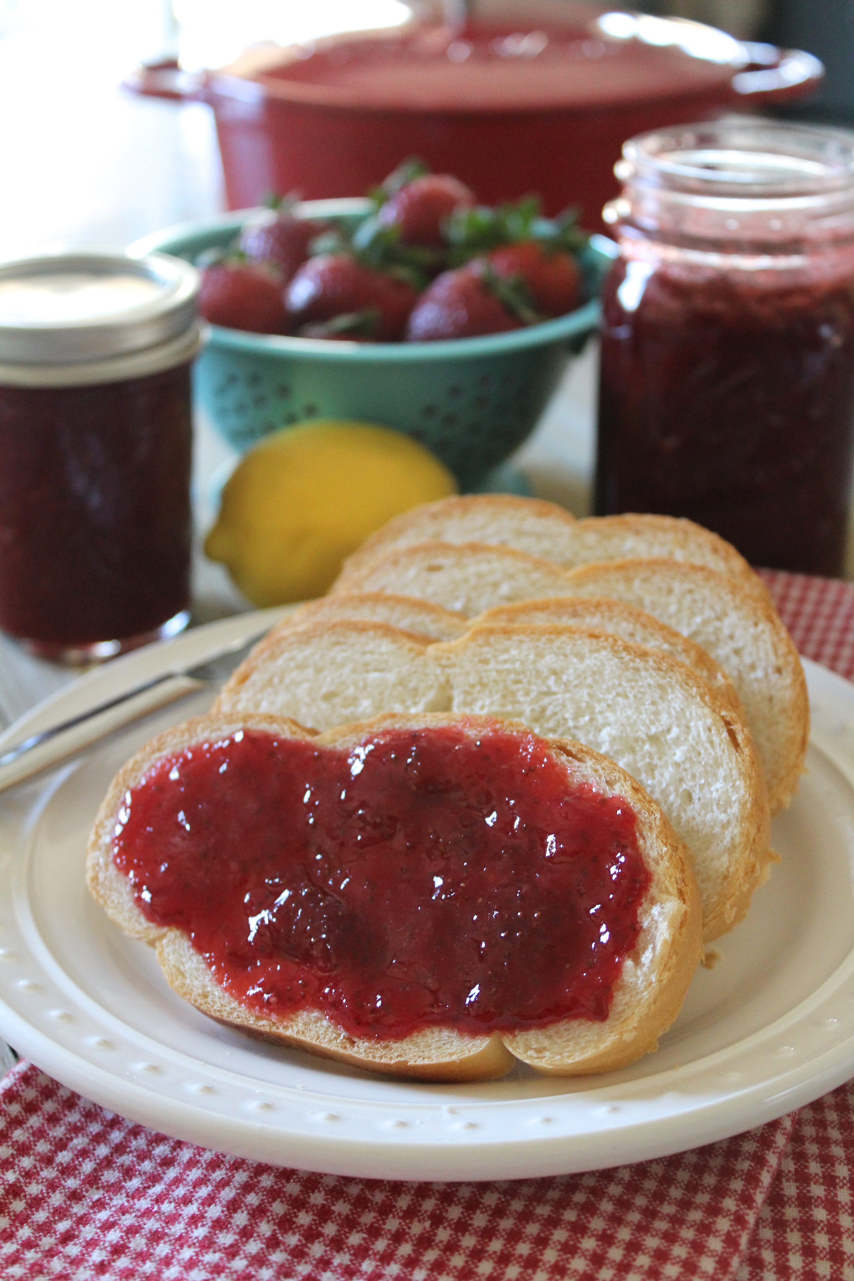 We cook thick strawberry jam