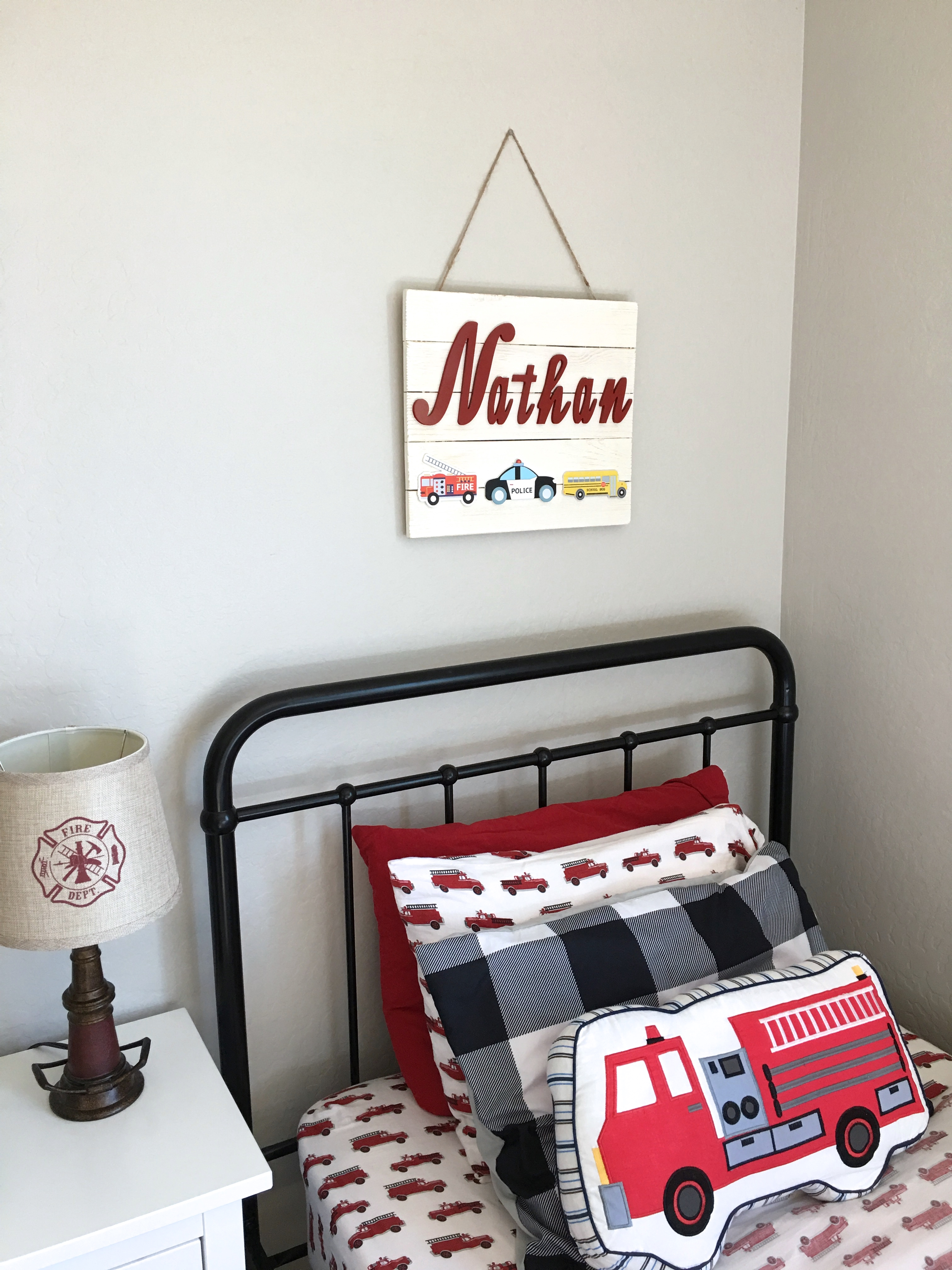 Fire Truck Theme Boy's Bedroom Makeover